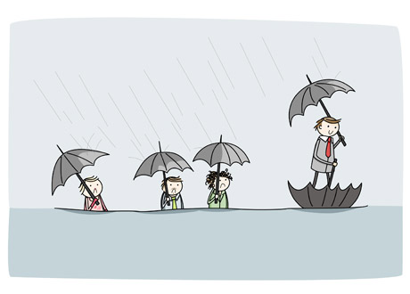 The problem is solved only temporarily - the umbrella will soon fill up with water! Image source unknown